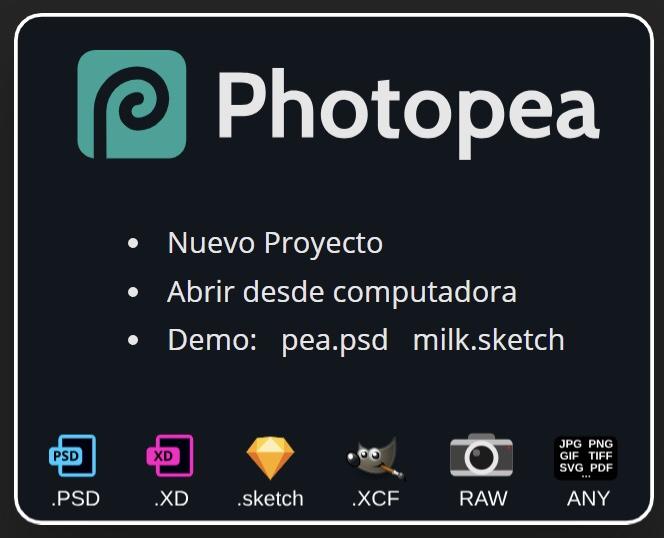 Formatos Soportados Photopea